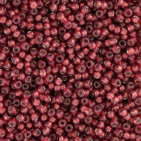 Japanese Seed Beads Size 11-4030A Gold Lined - Cranberry - Dyed