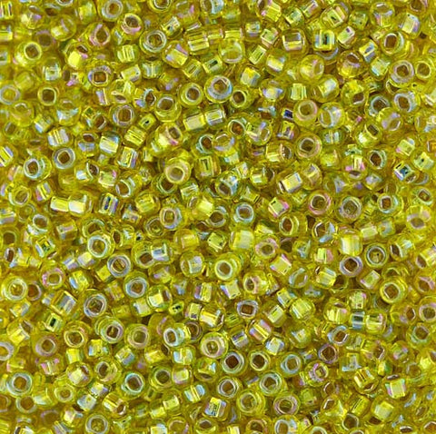 Japanese Seed Beads Size 11-5005 Silverlined Rainbow - Yellow