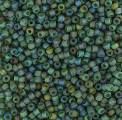 Japanese Seed Beads Size 11-7297 Transparent Rainbow Matte - Olive