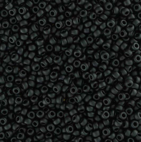 Japanese Seed Beads Size 11-7400 Opaque Matte - Black - 30 Gram Tube