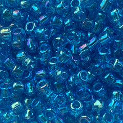 Japanese Seed Beads Size 6-260 - Transparent Aqua Rainbow AB