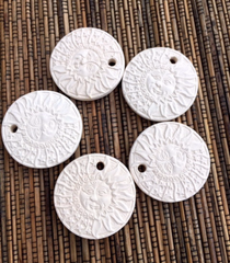 Ceramic Unglazed - 1 1/2 Inch Sun - 5 pcs