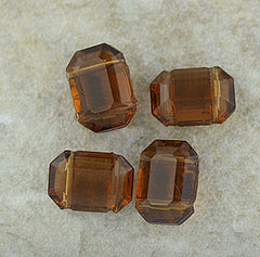 German Glass - Two Hole Spacer - Smoky Topaz