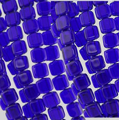 Czech Glass 6m Flat 2 Hole - Cobalt