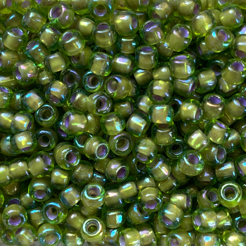 Japanese Seed Beads Size 6-356H - Colorlined RB - Olivine