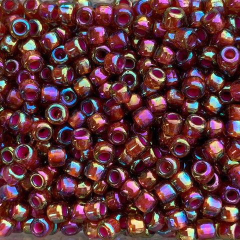 Japanese Seed Beads Size 6-389A - Colorlined Crystal/Ruby Rainbow