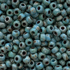 Japanese Seed Beads Size 8-4514 Picasso - Opaque Turquoise Picasso