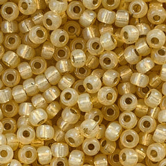 Japanese Seed Beads Size 8-578 Gold Lined - Cream