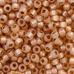 Japanese Seed Beads Size 8-580 Gold Lined - Peach