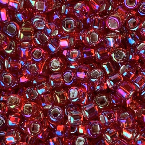 Japanese Seed Beads Size 8-638 Silverlined Ruby AB