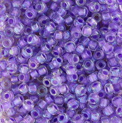 Japanese Seed Beads Size 8-269A Colorlined - Lavendar Rainbow