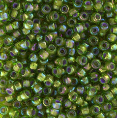 Japanese Seed Beads Size 8-356H Colorlined RB - Olivine