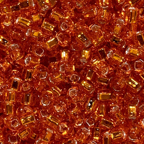 Japanese Seed Beads Size 8-009  Silverlined Orange