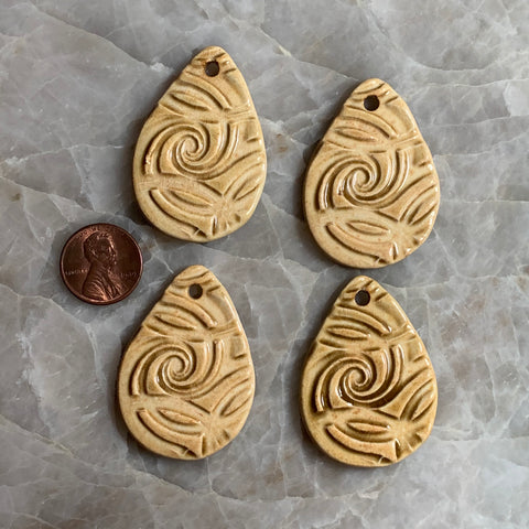 Ceramic Pendants - 44x32 Tear Drop Spiral - Beach - 4 pcs