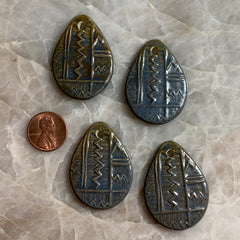 Ceramic Pendants - 40x30 Tear Drop Zig Zag - Green Denim - 4 pcs