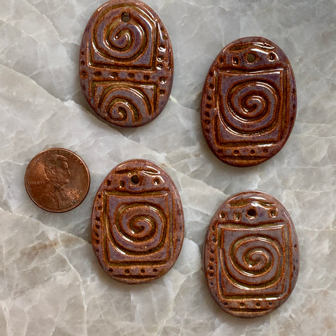 Ceramic Pendants - Oval Spiral - Rusty Wood - 22m x 37m - 4 pcs