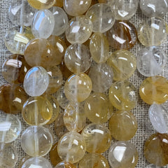 Gemstone Beads - Shapes - Yellow Crystal Quartz - Flat Roundl- 16 Inch strand