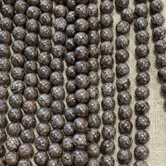 Gemstone Beads - Rounds - Brown Snowflake 8m - 16 Inch strand