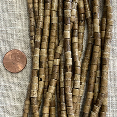 Bone & Shell Beads - Bone - Small Tube Antique - 16 Inch Strand