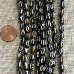 Bone & Shell Beads - Bone - Carved Dark Brown Oval- 16 Inch Strand