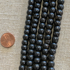 Bone & Shell Beads - Bone - 8m Black Round - 16 Inch Strands