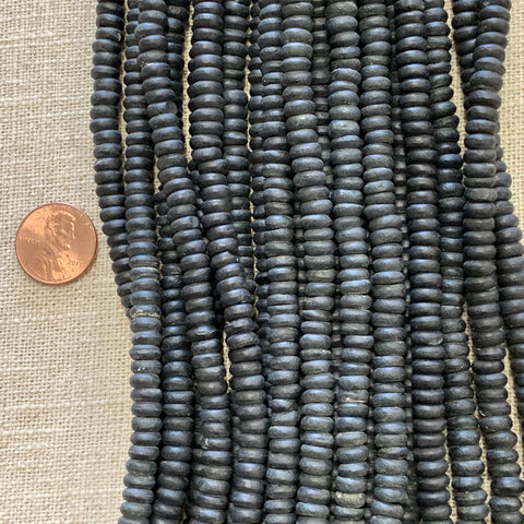 Bone & Shell Beads - Bone - 6m Black Heishi - 16 Inch Strands
