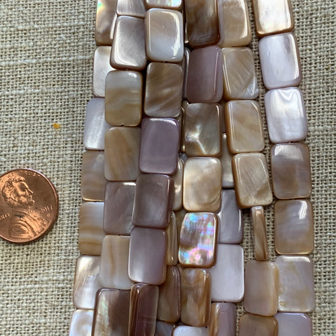 Bone & Shell Beads - Shell - Rectangle Pink Shell  - 16 Inch Strands
