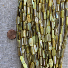 Bone & Shell Beads - Shell - Lime - 14x7m Rectangle  - 16 Inch Strands