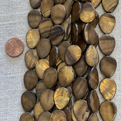 Bone & Shell Beads - Shell - Drop Brown  20x15m  - 16 Inch Strands