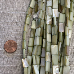 Bone & Shell Beads - Shell - Light Green - 16 Inch Strands