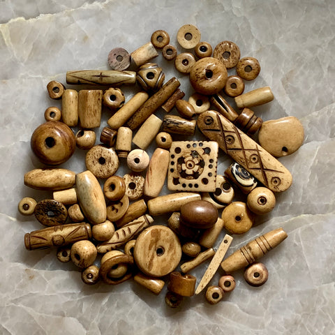 Bone & Shell Beads - Bone - Light Brown -Mix