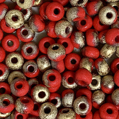 Unique Seed Beads -  Czech Size 4 93170-26481 Red Etched Apollo - 16 Grams