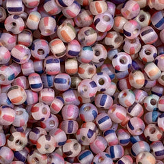 Unique Seed Beads -  Czech Size 6 - 1780 - Striped Matte Multi - 30 Grams