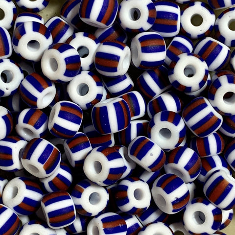 Unique Seed Beads -  Czech Size 2 33030M - Matte Royal Blue/White Stripe - 30 Grams