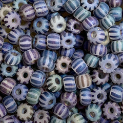 Unique Seed Beads -  Czech Size 4 Striped Blue Transparent Matte - 30 Grams
