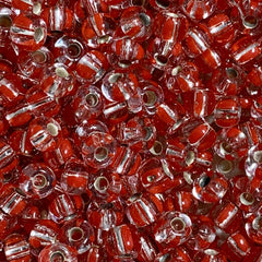 Unique Seed Beads -  Czech Size 6 1804 Silverlined Striped Red/Crystal - 30 Grams