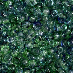 Unique Seed Beads -  Czech Size 6 Green/Blue - 30 Grams
