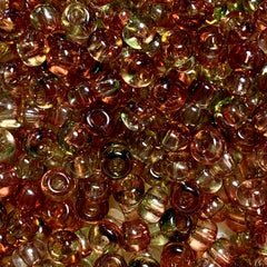 Unique Seed Beads - Czech Size 6 - Red/Apple Green  - 30 Gram
