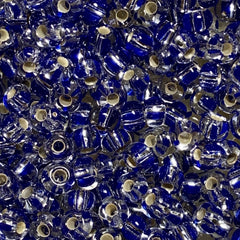 Unique Seed Beads - Czech Size 6 - 1782 - Silverlined Stiped Blue Crystal - 30 Grams