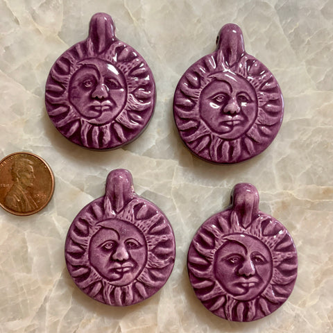 Ceramic Pendants - Sun & Moon - Royal Purple - 31m x 39m - 4 pcs