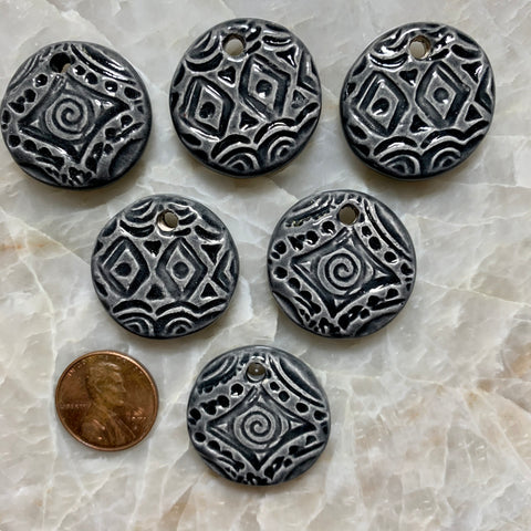Ceramic Pendants - Spiral & Diamond - Black - 25m - 6 pcs