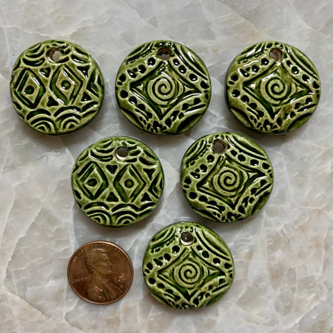 Ceramic Pendants - Spiral & Diamond - Green - 25m - 6 pcs