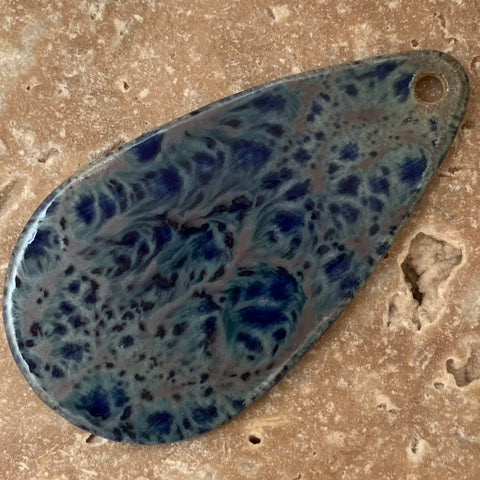 Ceramic Pendants - 65x36  Tear Drop - Blue Earth