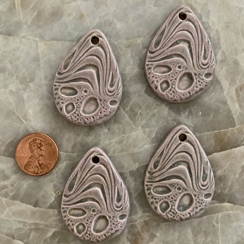 Ceramic Pendants - 42x30 Tear Drop Ocean - Pinky Green