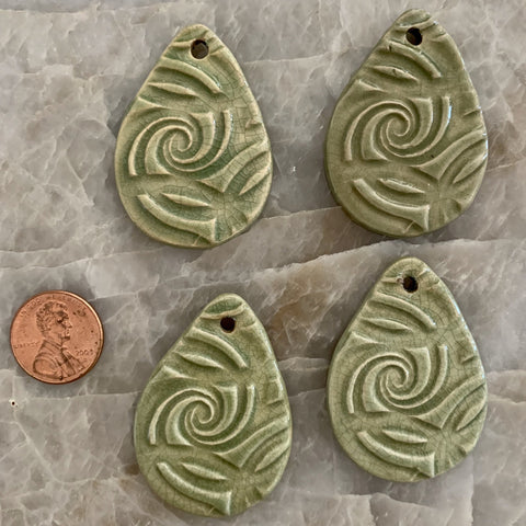 Ceramic Pendants - 44x32 Tear Drop Spiral - Crackled Jade - 4 pcs