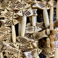 Bone & Shell Beads - Bone - Fish & Bone Bead - 16 Inch Strands