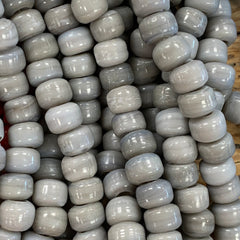 Earthy Glass Beads - 9m Pony Bead - Opaque Grey