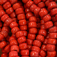 Earthy Glass Beads - 9m Pony Bead - Opaque Red