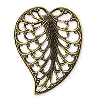 Antique Brass - Filigree - 15x20mm Leaf Left