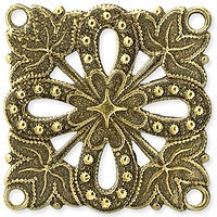 Antique Brass - Connector - 27mm  Flower Square